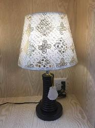 Golden Design Fabric Shade With Wooden Stand Table Lamp