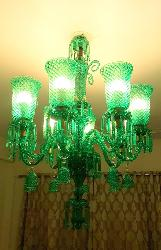 Made In India Green Colour Glass Lamp Mid Century Pattern Design Chandelier
