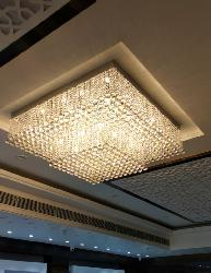 Customized Square Shape Crystal Pendant Design Modern Style Surface Mounted Chandelier