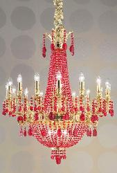 Red Colour Crystal Decor Maharaja Chandelier