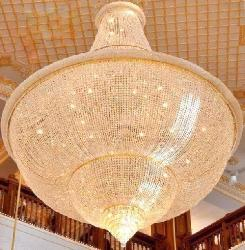 Big Size Cone Shape Crystal Decor Chandelier For Double Heighted Ceiling