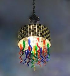 Luxury Spiral Shape and Colourful Glass LED Light Height Suspension Chandelier For Dining room
