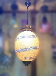Oval Shape Yellowish Brown Color Moroccan Glass Hanging Light