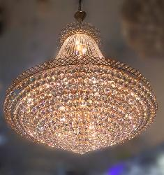 Big Size Crystal Ball Pendant Golden Touch Frame Contemporary Design Chandelier For Hotel