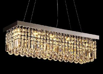 Customized Rectangular Shape Elegant Crystal Decor Pendant Chandelier