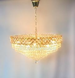 The Royal Design Golden Colour and Crystal Decor Chandelier