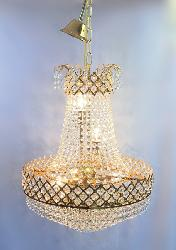 480 MM Diameter Golden Coated Crystal Chandelier with Led Bulb