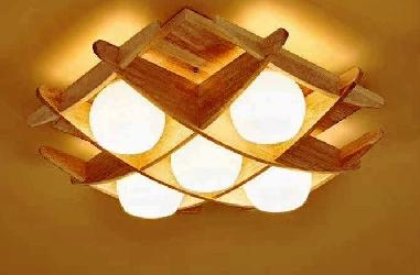 Wooden Classy Chandelier With Five Bulb Light