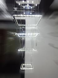 K9 Crystal Foyer Chandelier With Four Squares Shape Crystal Ring LED Light