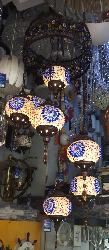Moroccan Glass Multi colored Handicraft Chandelier with Seven Hanging LED Bulbs