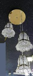 Silver And Gold Combination Lighting with Brass finished Pendant Hanging Chandelier