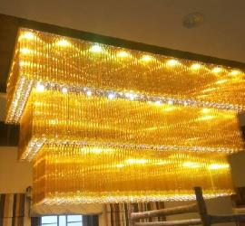 Customized Rectangular Shape and Three Step Crystal Design Surface Mounted Chandelier
