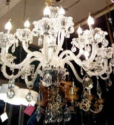 Luxury Glass Arm and Crystal Pendant Italian Design Chandelier