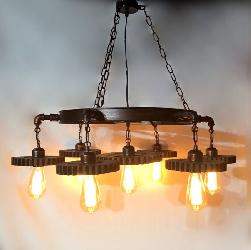 Decorative Antique Wagon Wheel and Bulb Pendant Light Chandelier