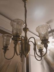 Antique Five Glass Lamp Hanging Chandelier
