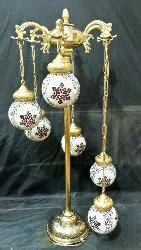 Circular Shape Moroccan Glass Ball Pendant Design Antique and Mughal Style Floor Lamp