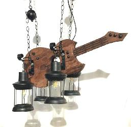 Small Wood Material Guitar Design Four Lamp Pendant Chandelier