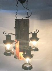 Rustic Wood And Lamp Pendant Chandelier