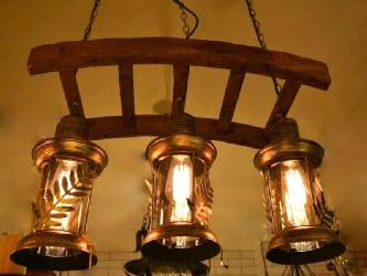 Rustic Wooden Small Bridge Design Pendant Light Chandelier