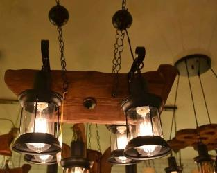The Antique Style Ship Pattern Design Wood Hanging Chandelier