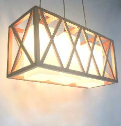 Rectangular Shape Rustic Wooden Cage And Glass Lamp Pendant Chandelier