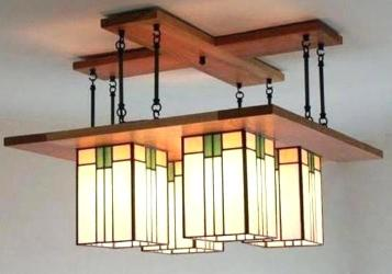 Rectangular Shape Double Step Wood Foyer Design Ceiling Fixture Chandelier