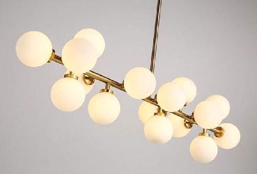 Contemporary White Glass Ball chandelier Lighting With Golden Finish