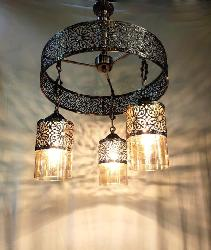 Exclusive Antique Design Three Glass Lamp Pendant Chandelier For Farmhouse