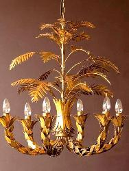 Tole Antique Italian Chandelier With Golden Finish