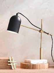 Black And Golden Modern Table Lamp With Adjustable Arm And Wood And Stone Base