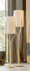 Cylindrical Fabric Shade With Golden Base Stand Floor Lamp