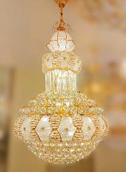 800 MM Diameter Big Size Golden Finish Crystal And Glass Decorative Chandelier With Remote Operated Light