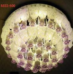 Yellow Flower And Glass And Crystal Design Musical Chandelier With Multi Colors LED Light