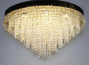 Customized High Quality Swarovski Crystal Pendant Ceiling Mount Chandelier With Golden Finish And Three Colors Bright Illuminated LED Light