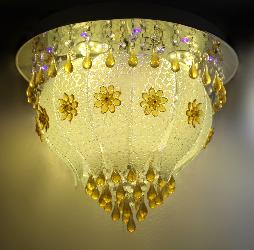 Yellow Color Dots Glass Decor Musical Ceiling Chandelier Light