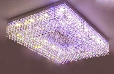 Customize Rectangular Shape Crystal Decor Ceiling Mount Chandelier