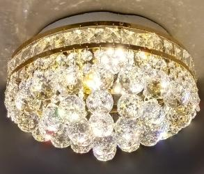 High Quality Swarovski Crystal Decorative Golden Touch Metal Ceiling Mount Chandelier With Bright Three Colors LED Light