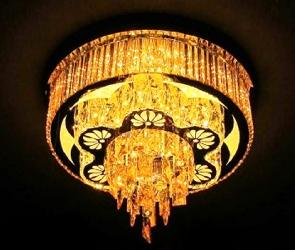 500 MM Round Flower Design And Crystal Pendant Ceiling Fixture Chandelier With Three Colours Changing LED Light