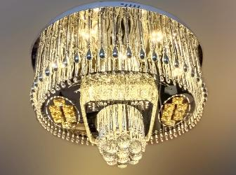 Home Decor Crystal Design Multi Colors LED Light And Musical Ceiling Chandelier