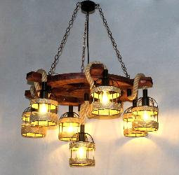 The Wood Wheel With Rope Pendant Light Chandelier