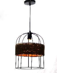 Small Size Black Finish Metal Cage And Rope Pendant Light For Cafe Decoration