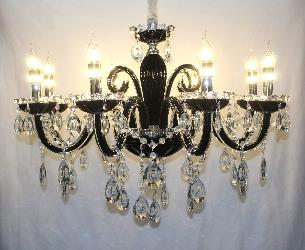 Black Glass Arm And Crystal Pendant Italian Design Chandelier For Dining Room