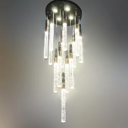 The Gel Crystal Glass Pipe With LED Light Double Height Pendant Chandelier