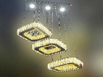 Modern Crystal Design Square Shape Ring Pendant Chandelier For Dining Room And Restaurants