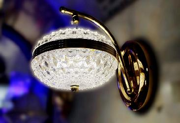 3 Color LED Golden Finish Wall Lamp