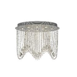 Diyas Camilla Asfour Crystal Oval Semi Flush Ceiling Fitting Polished Chrome Frame