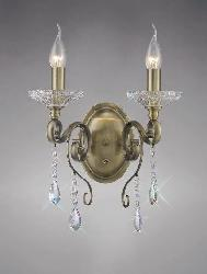 Diyas Switched 2 Light Antique Brass Crystal Wall Lamp