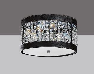 Diyas Asfour Crystal Polished Chrome Black Faux Leather Ceiling Fitting 3 Light