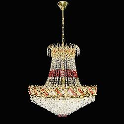 The Royal Design Golden Colour and Red Crystal Decor Chandelier