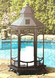 Big Size Vintage Design Lantern Pattern Rechargeable Solar Outdoor Light With Flameless Candles